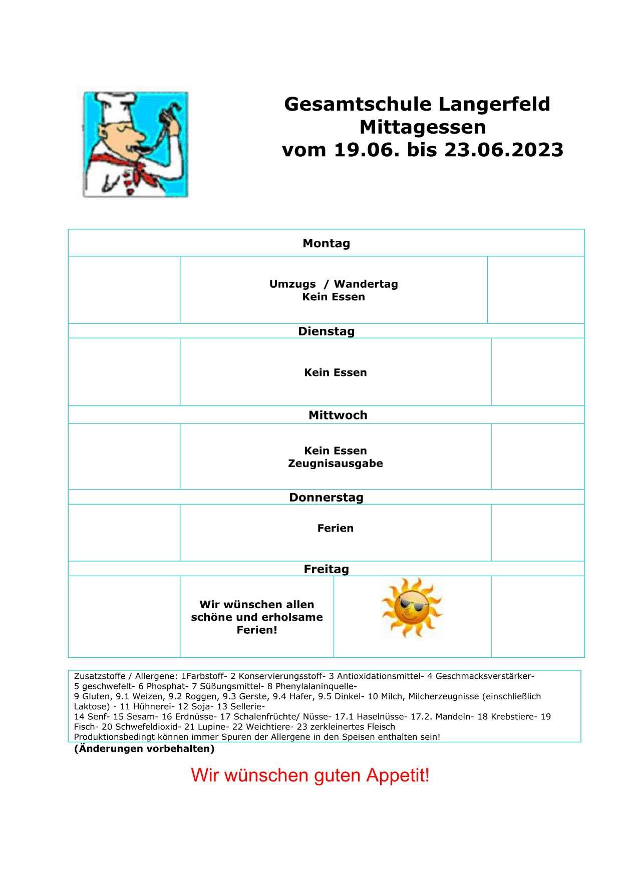 Aktueller Essenplan